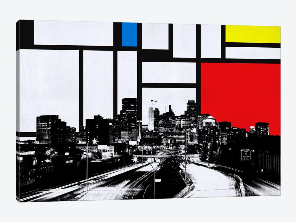 Minneapolis, Minnesota Skyline with Primary Colors Background by Unknown Artist 1-piece Canvas Art Print