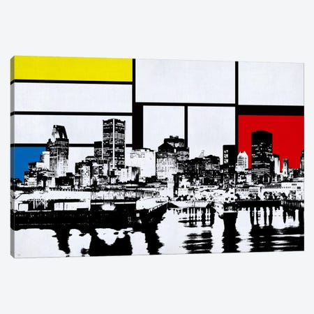 Montreal, Canada Skyline with Primary Colors Background Canvas Print #SKY15} by Unknown Artist Canvas Art Print