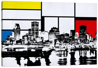 Montreal, Canada Skyline with Primary Colors Background Canvas Art Print