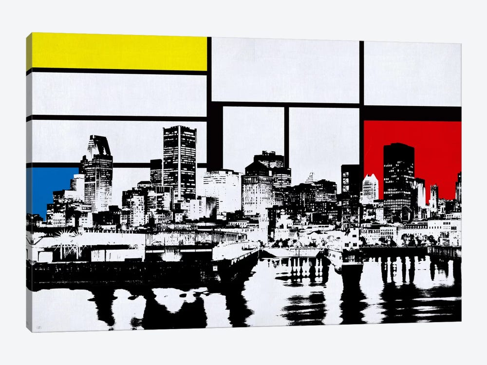Montreal, Canada Skyline with Primary Colors Background by iCanvas 1-piece Canvas Artwork