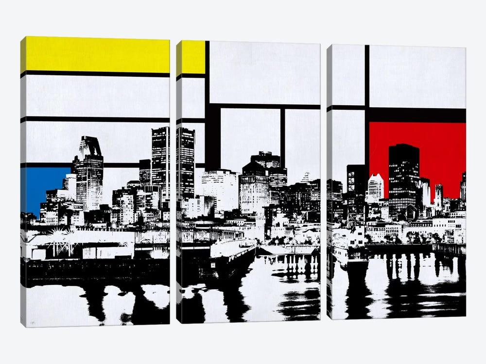 Montreal, Canada Skyline with Primary Colors Background by iCanvas 3-piece Canvas Wall Art