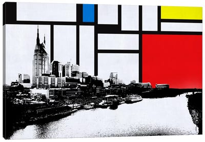 Nashville, Tennessee Skyline with Primary Colors Background Canvas Print #SKY16
