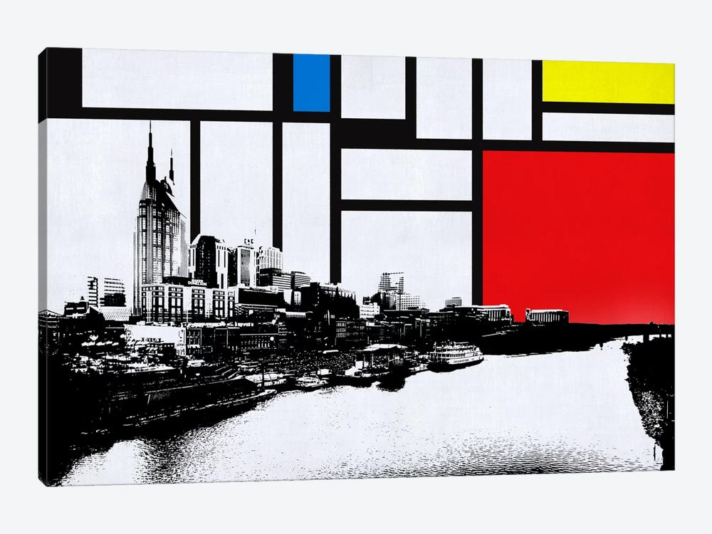 Nashville, Tennessee Skyline with Primary Colors Background by iCanvas 1-piece Canvas Art Print