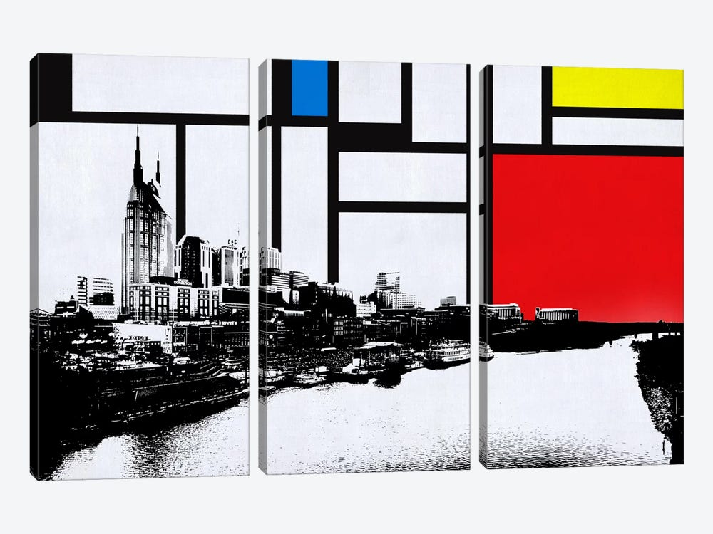Nashville, Tennessee Skyline with Primary Colors Background by iCanvas 3-piece Canvas Art Print