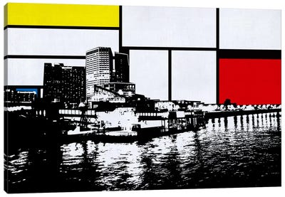 New Orleans, Louisiana Skyline with Primary Colors Background Canvas Art Print