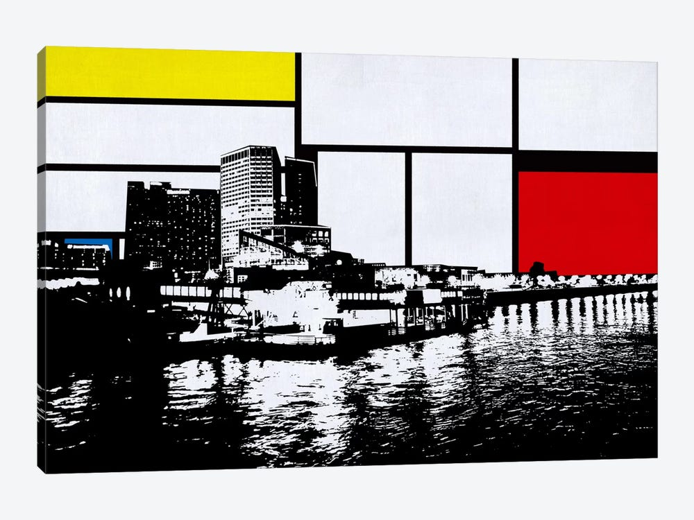 New Orleans, Louisiana Skyline with Primary Colors Background by iCanvas 1-piece Canvas Wall Art