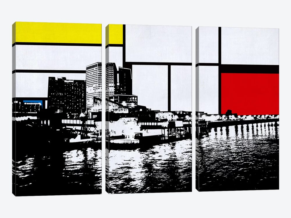 New Orleans, Louisiana Skyline with Primary Colors Background 3-piece Canvas Artwork