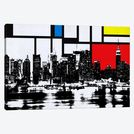 New York Skyline with Primary Colors Background Canvas Print #SKY18} by Unknown Artist Canvas Art