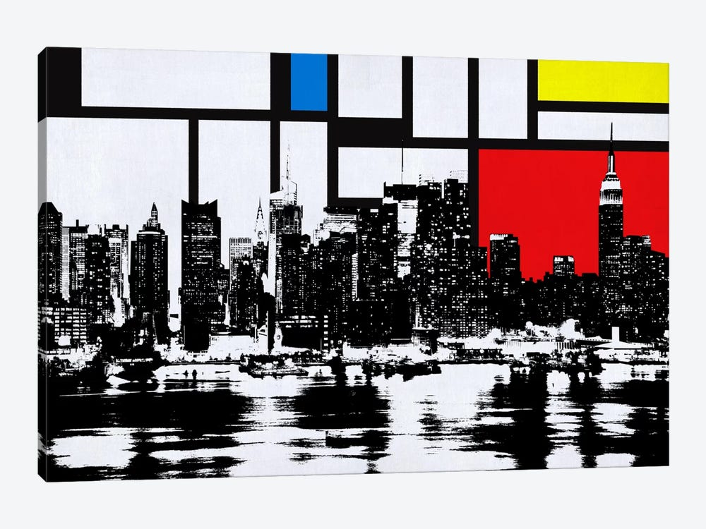 New York Skyline with Primary Colors Background by Unknown Artist 1-piece Canvas Art Print