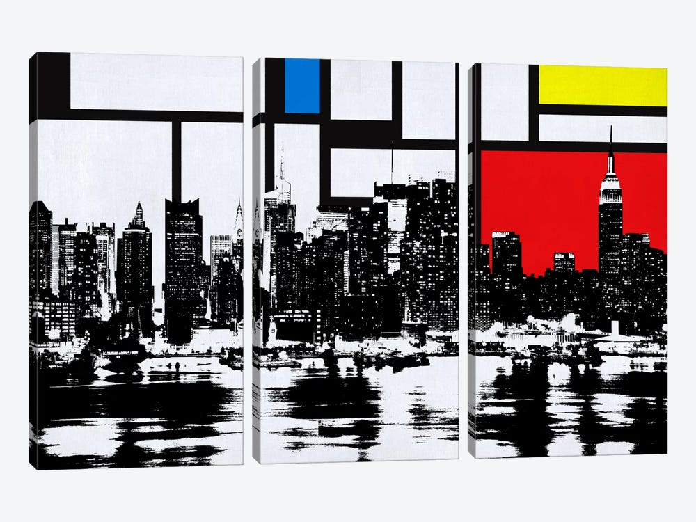 New York Skyline with Primary Colors Background by iCanvas 3-piece Canvas Print