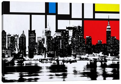New York Skyline with Primary Colors Background Canvas Art Print