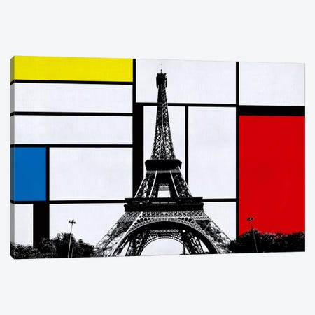 Paris, France Skyline with Primary Colors Background Canvas Print #SKY19} by Unknown Artist Canvas Wall Art