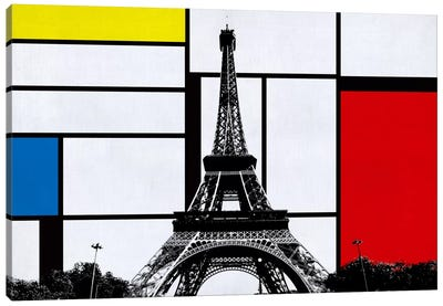 Paris, France Skyline with Primary Colors Background Canvas Print #SKY19