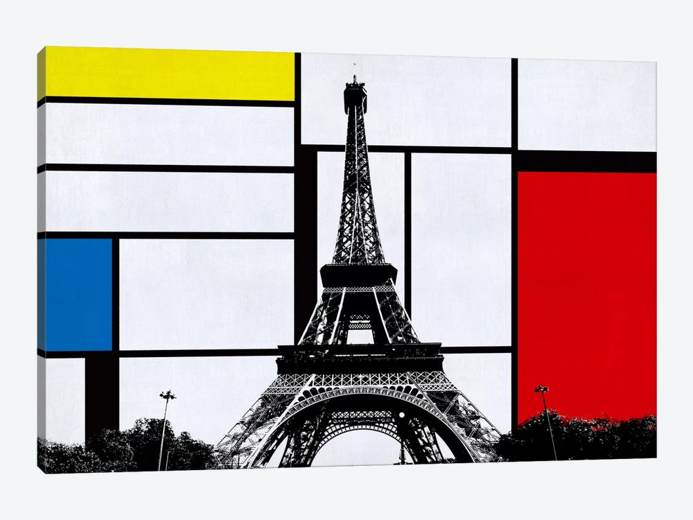Paris, France Skyline with Primary Colors Background by iCanvas 1-piece Canvas Wall Art