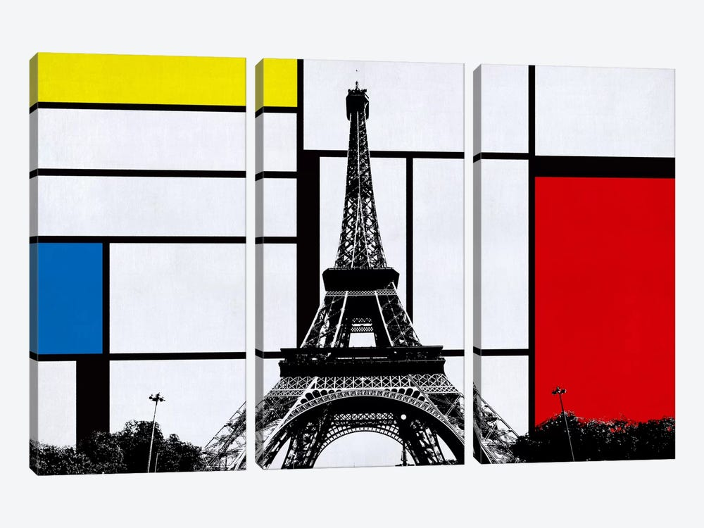Paris, France Skyline with Primary Colors Background by iCanvas 3-piece Canvas Artwork