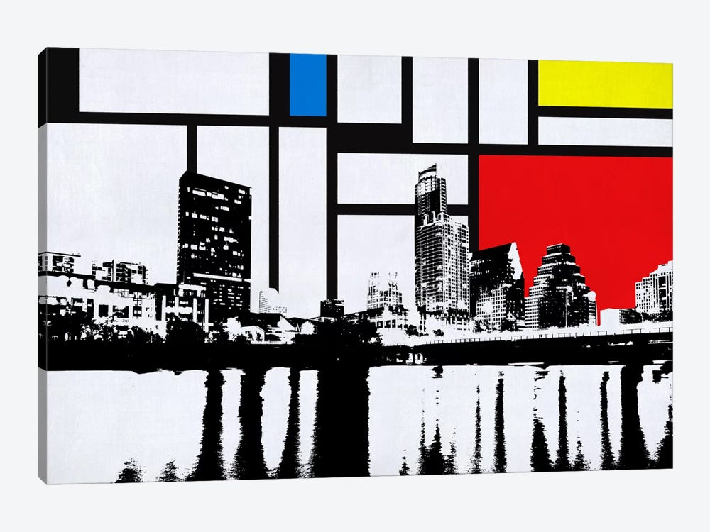 Austin, Texas Skyline with Primary Colors Background 1-piece Canvas Artwork