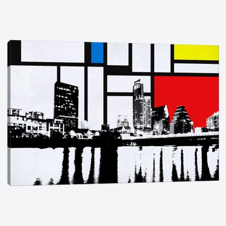 Austin, Texas Skyline with Primary Colors Background Canvas Print #SKY1} by Unknown Artist Canvas Print