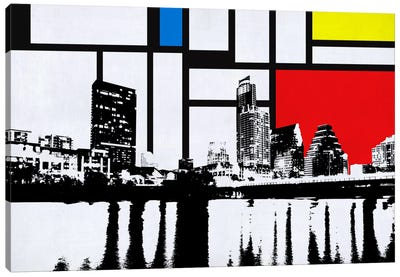 Austin, Texas Skyline with Primary Colors Background Canvas Art Print