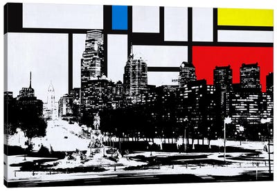 Philadelphia, Pennsylvania Skyline with Primary Colors Background Canvas Art Print