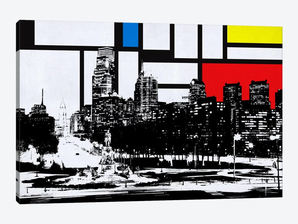 Philadelphia, Pennsylvania Skyline with Primary Colors Background by Unknown Artist 1-piece Canvas Wall Art