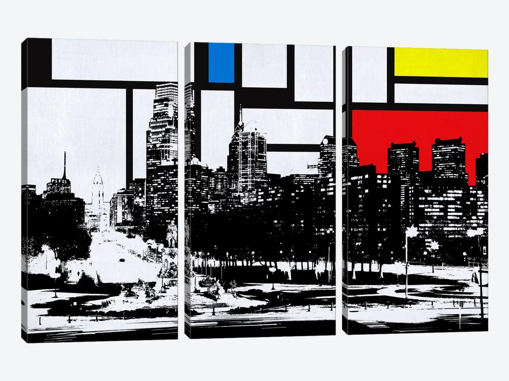 Philadelphia, Pennsylvania Skyline with Primary Colors Background by Unknown Artist 3-piece Canvas Wall Art