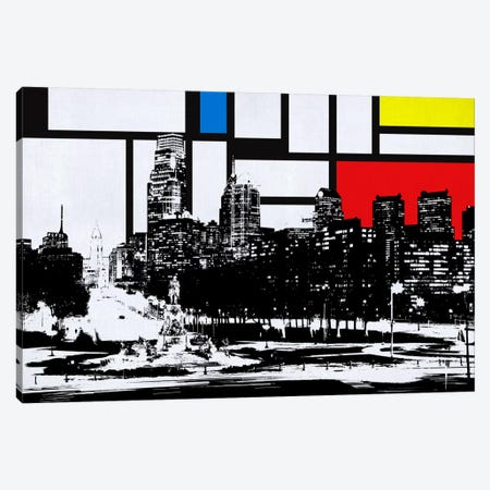 Philadelphia, Pennsylvania Skyline with Primary Colors Background Canvas Print #SKY20} by Unknown Artist Canvas Print
