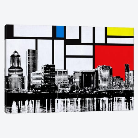Portland, Oregon Skyline with Primary Colors Background Canvas Print #SKY22} by Unknown Artist Canvas Print