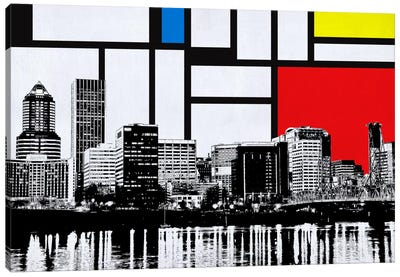 Portland, Oregon Skyline with Primary Colors Background Canvas Art Print