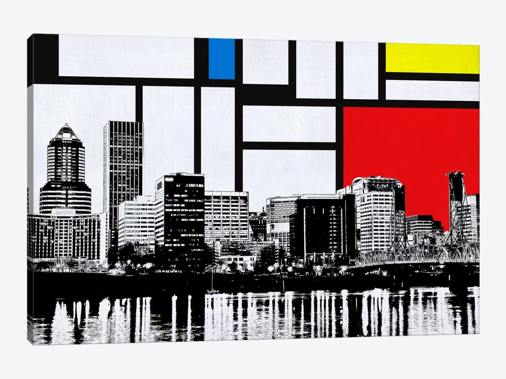 Portland, Oregon Skyline with Primary Colors Background by iCanvas 1-piece Canvas Wall Art
