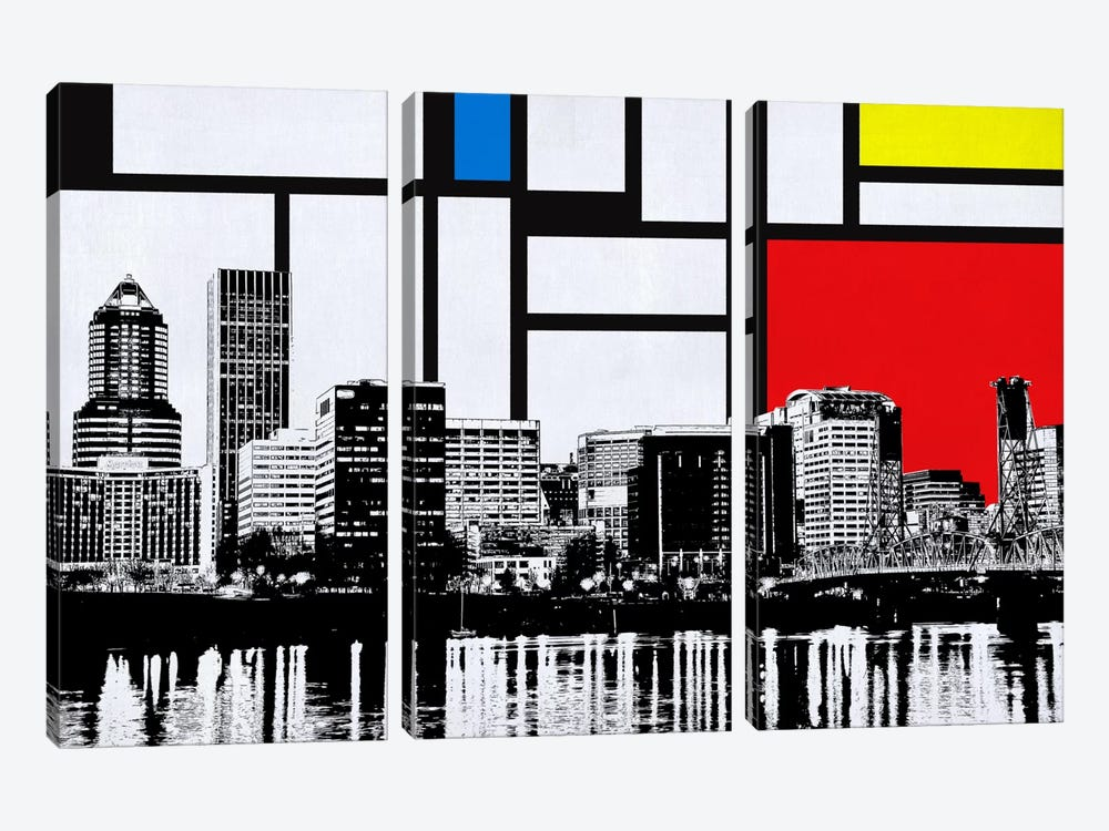 Portland, Oregon Skyline with Primary Colors Background by Unknown Artist 3-piece Canvas Wall Art