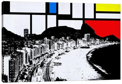Rio de Janeiro, Brazil Skyline with Primary Colors Background Canvas Art Print
