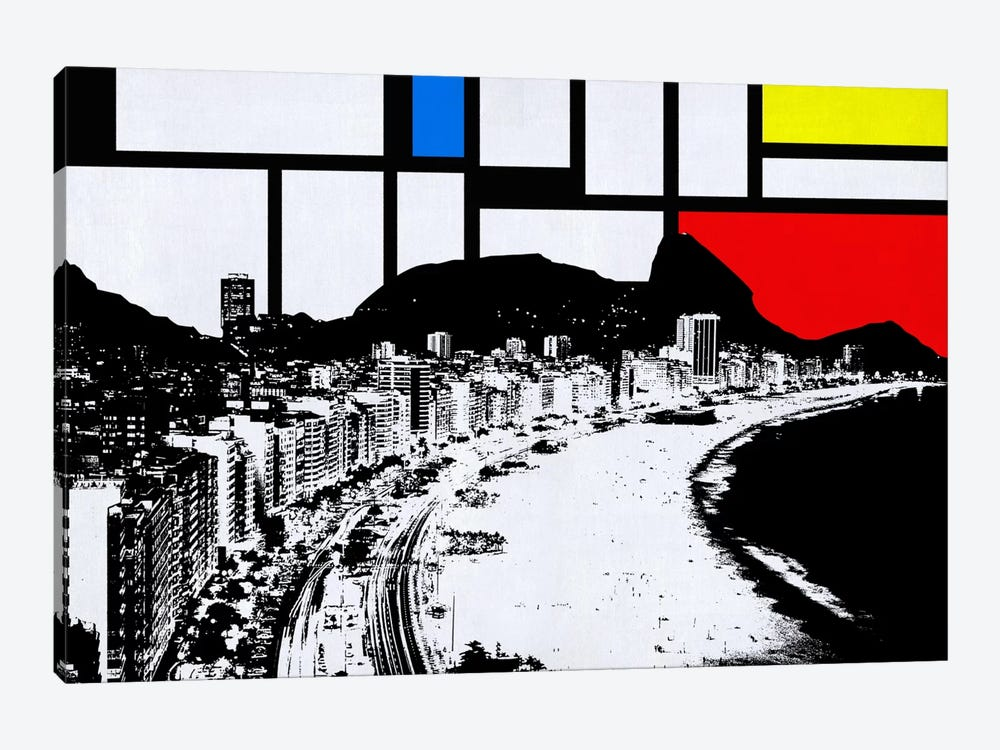 Rio de Janeiro, Brazil Skyline with Primary Colors Background by iCanvas 1-piece Canvas Art Print