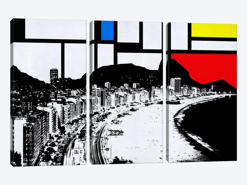 Rio de Janeiro, Brazil Skyline with Primary Colors Background by iCanvas 3-piece Canvas Print