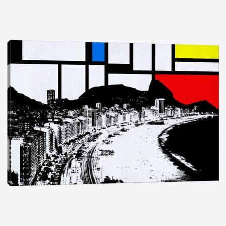 Rio de Janeiro, Brazil Skyline with Primary Colors Background Canvas Print #SKY23} by Unknown Artist Art Print