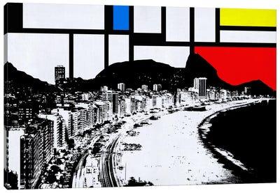 Rio de Janeiro, Brazil Skyline with Primary Colors Background Canvas Art Print