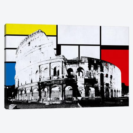 Rome, Italy Colosseum Skyline with Primary Colors Background Canvas Print #SKY24} by Unknown Artist Canvas Art