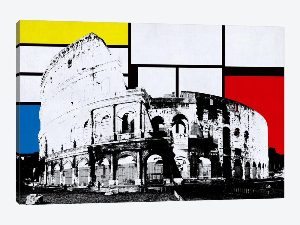 Rome, Italy Colosseum Skyline with Primary Colors Background by Unknown Artist 1-piece Canvas Wall Art