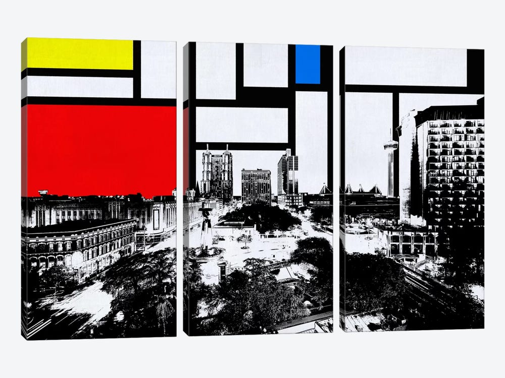 San Antonio, Texas Skyline with Primary Colors Background by iCanvas 3-piece Art Print