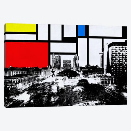 San Antonio, Texas Skyline with Primary Colors Background Canvas Print #SKY25} by Unknown Artist Canvas Wall Art