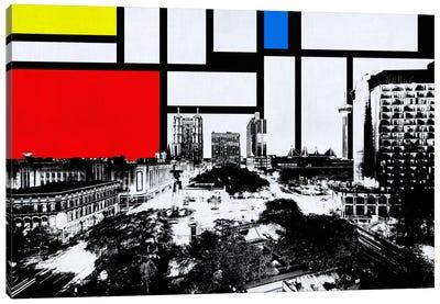 San Antonio, Texas Skyline with Primary Colors Background Canvas Art Print
