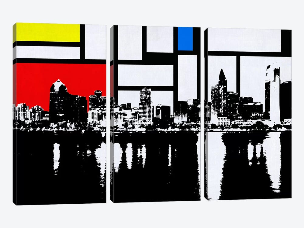 San Diego, California Skyline with Primary Colors Background by iCanvas 3-piece Canvas Wall Art