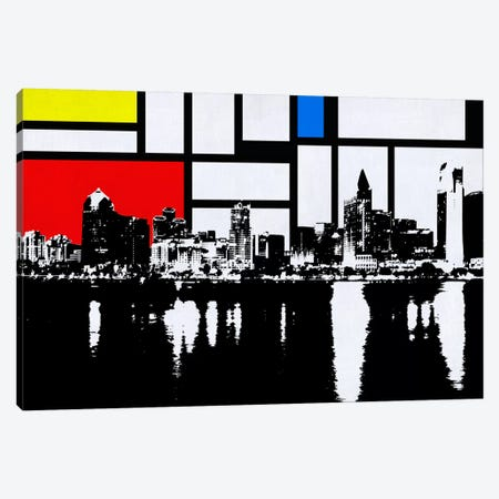 San Diego, California Skyline with Primary Colors Background Canvas Print #SKY26} by Unknown Artist Canvas Wall Art