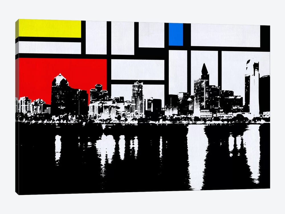 San Diego, California Skyline with Primary Colors Background by Unknown Artist 1-piece Canvas Artwork