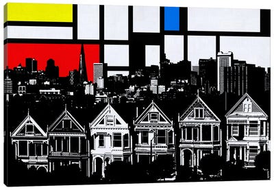 San Francisco, California Skyline with Primary Colors Background Canvas Print #SKY27