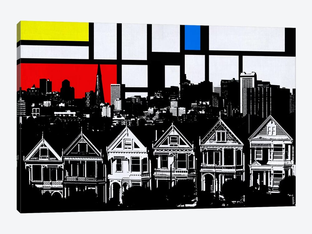 San Francisco, California Skyline with Primary Colors Background by Unknown Artist 1-piece Canvas Print