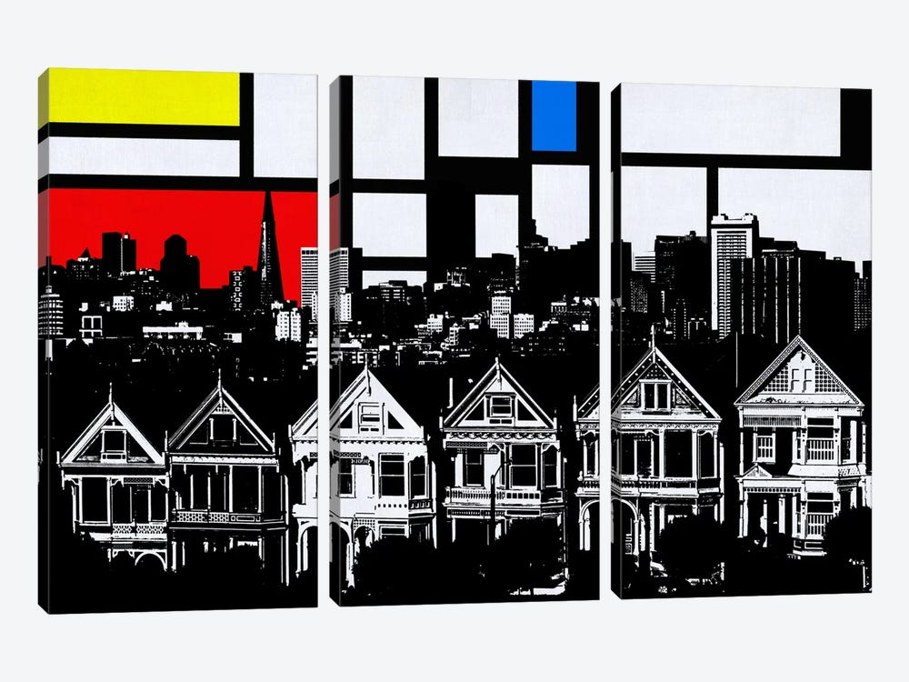 San Francisco, California Skyline with Primary Colors Background by iCanvas 3-piece Canvas Print
