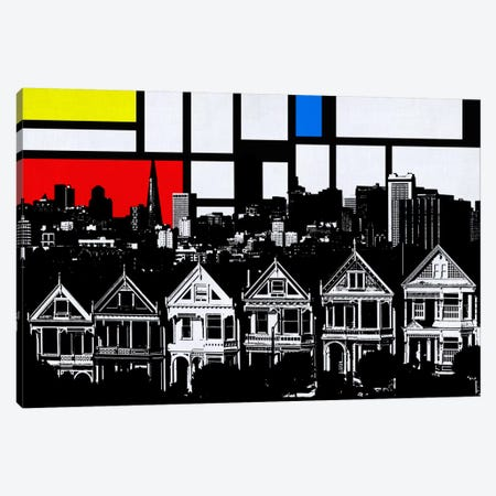San Francisco, California Skyline with Primary Colors Background Canvas Print #SKY27} by Unknown Artist Canvas Artwork