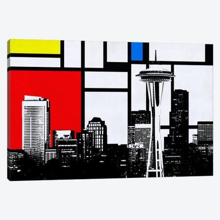 Seattle, Washington Geometric Skyline with Primary Colors Background Canvas Print #SKY28} by Unknown Artist Canvas Art Print
