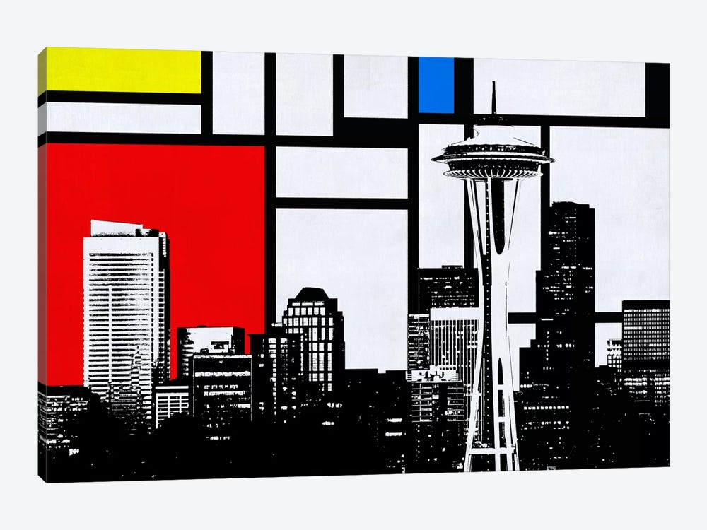 Seattle, Washington Geometric Skyline with Primary Colors Background by Unknown Artist 1-piece Canvas Artwork
