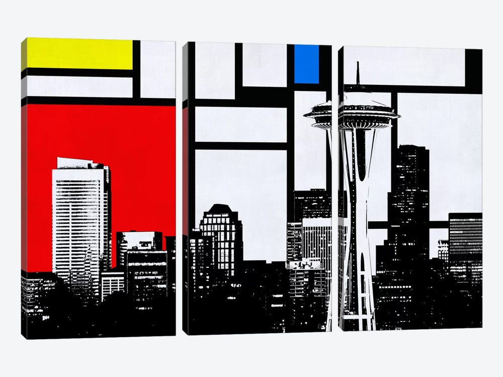 Seattle, Washington Geometric Skyline with Primary Colors Background by Unknown Artist 3-piece Canvas Artwork